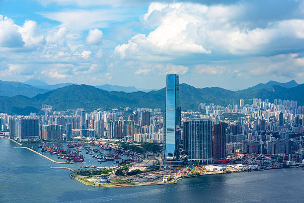 beautiful view of west kowloon from victoria peak - kowloon stock-fotos und bilder