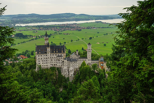 beautiful view of world-famous neuschwanstein castle - ludwig stock-fotos und bilder