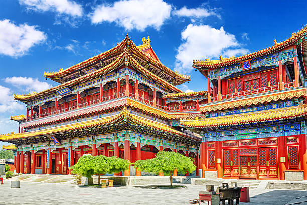 Hermosa vista de Yonghegong Lama Temple.Beijing. - foto de stock