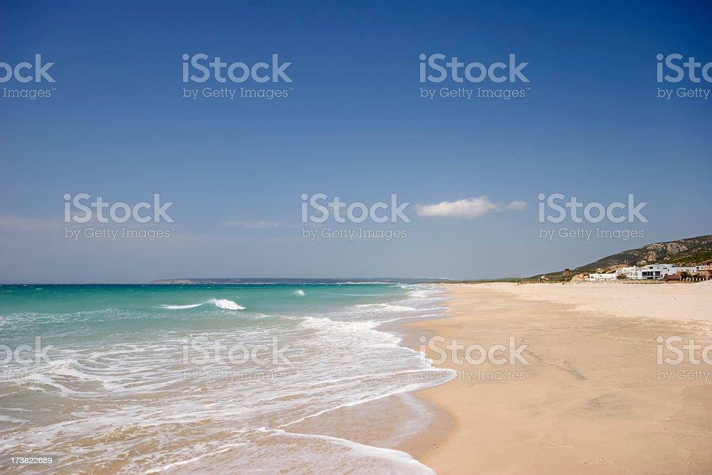Beautiful view of Zahara beach at Cadiz Province stock photo
