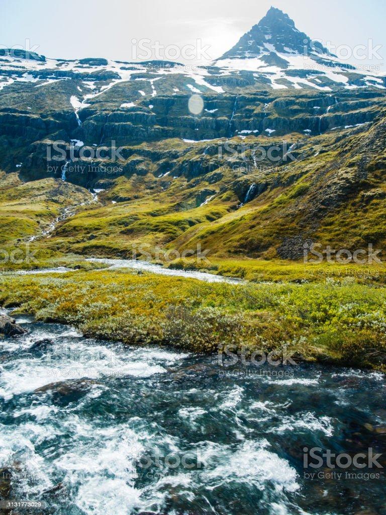 Beautiful view on a mountain near Klifbrekkufossar waterfall стоковое фото
