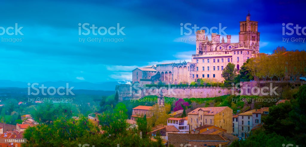 Beautiful view on Bezier town at sunset. stock photo