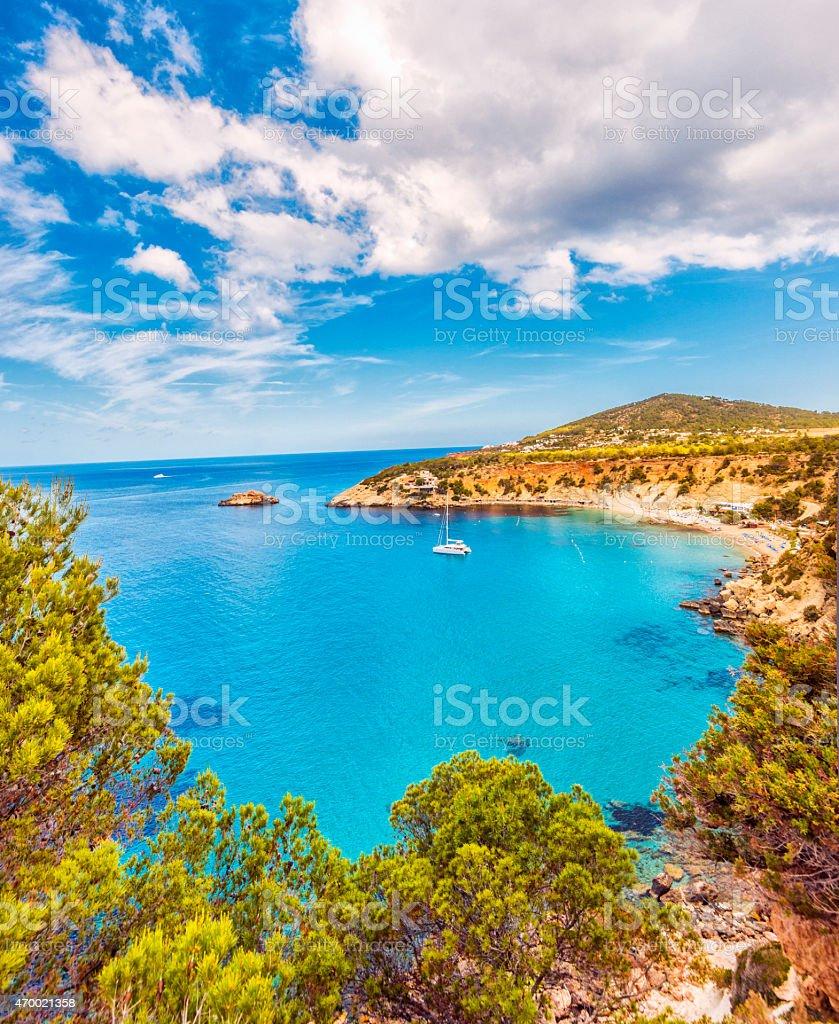 Beautiful view on Cala D'hort on Ibiza stock photo