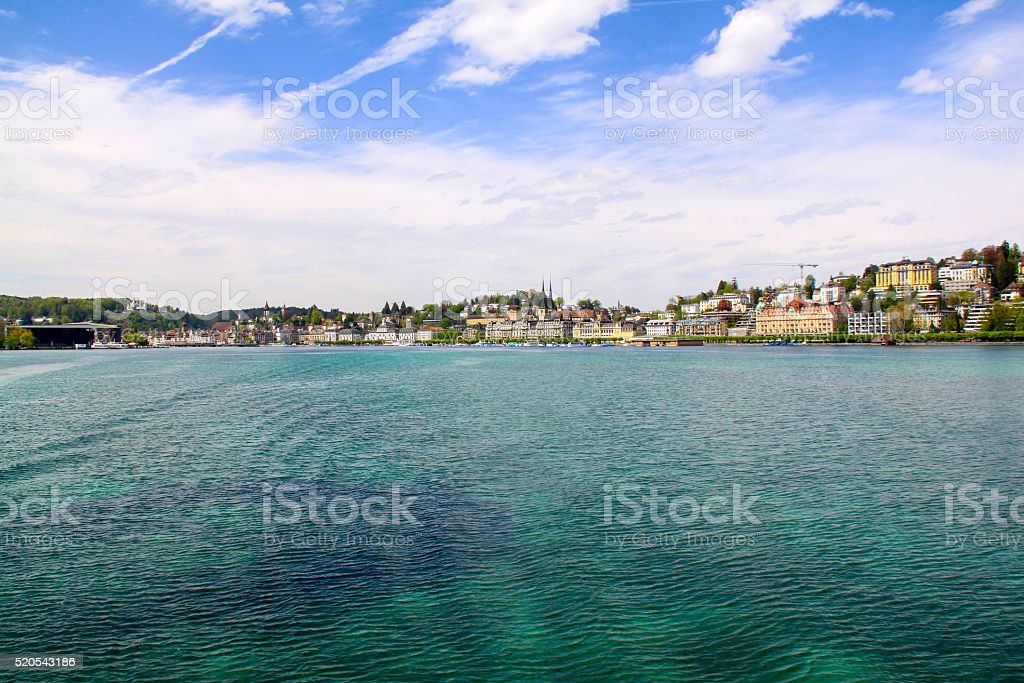 Beautiful view on city of lake in swissland stock photo