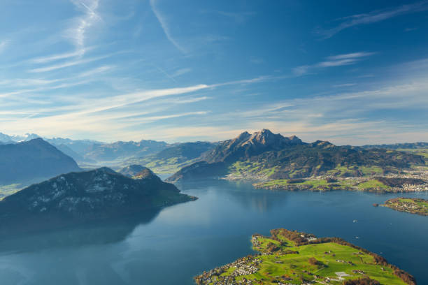 beautiful view on lake lucerne and mount pilatus - lucerne stock pictures, royalty-free photos & images
