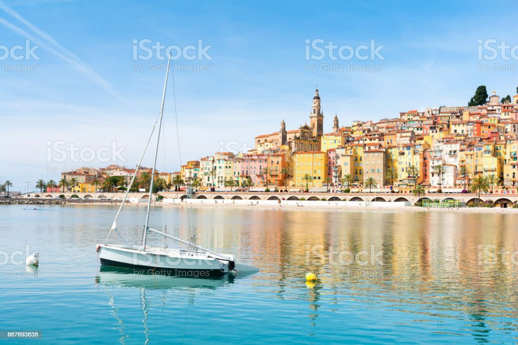 beautiful view on Menton town on french riviera, cote d'azur, south France stock photo