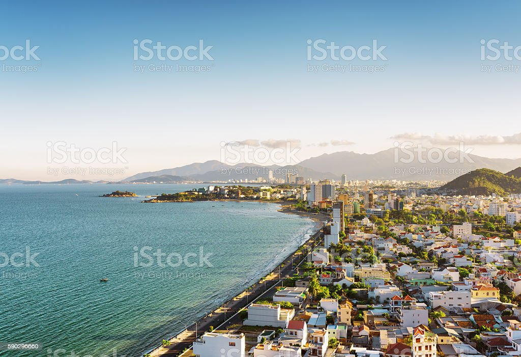 Beautiful view on Nha Trang Bay in Vietnam royaltyfri bildbanksbilder