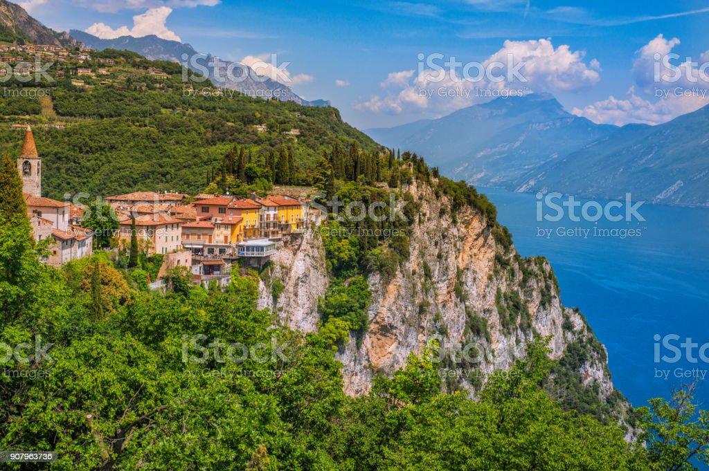 Beautiful view on Pieve in Tremosine, Lake Garda - foto stock