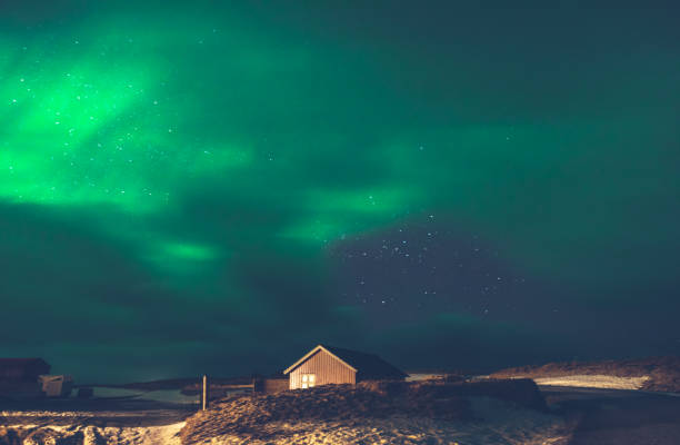 Beautiful view on the Aurora Borealis stock photo