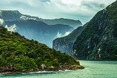 A beautiful view on the entrance of the milford sound in the famous fjordland in new zealand