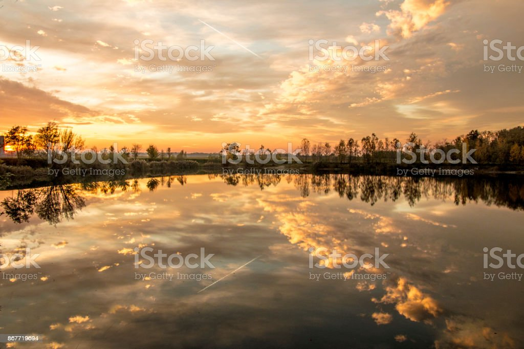 Beautiful view on the lake stock photo