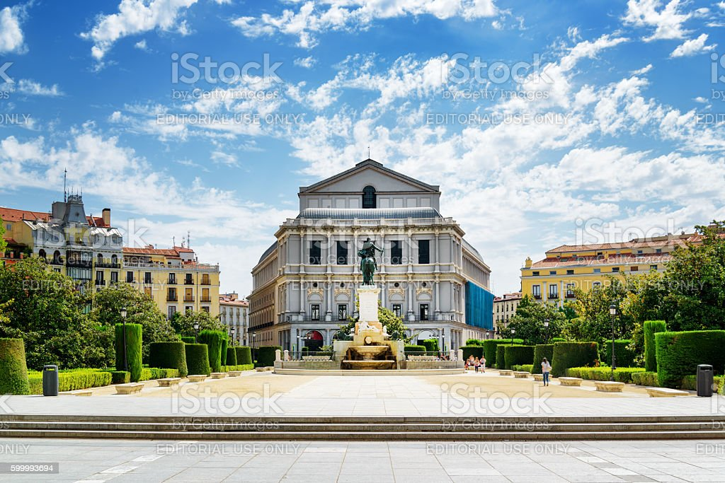 Beautiful view on the Royal Theatre (Teatro Real) stock photo