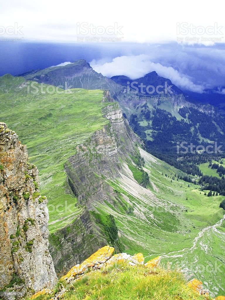 beautiful view on the top mountain stock photo