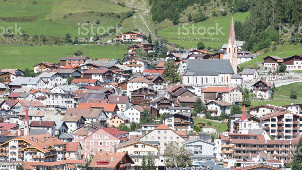 Beautiful view on the village of Nauders stock photo