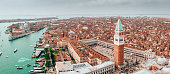 Aerial beautiful view over San Marco square in Venice, Italy