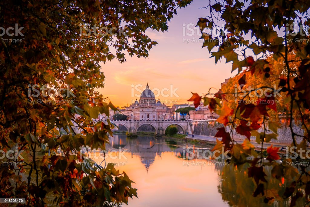 Beautiful view over St. Peter's Basilica in Vatican from Rome, Italy during the sunset in Autumn stock photo