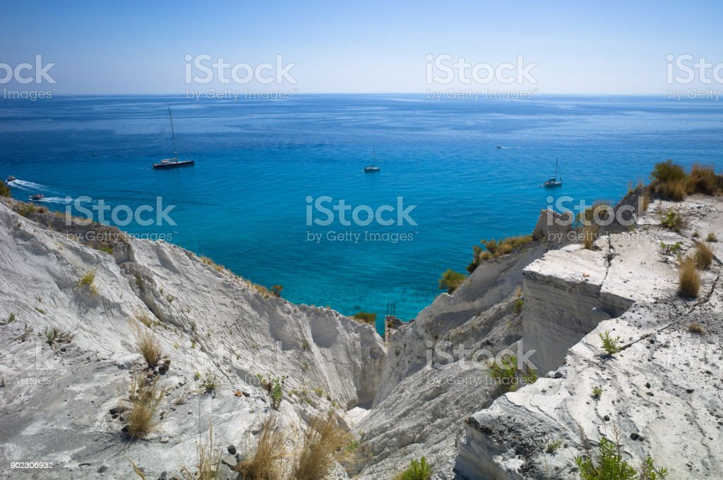 Beautiful view over the blue mediterranean sea in summer from Lipari island, Sicily, Italy stock photo