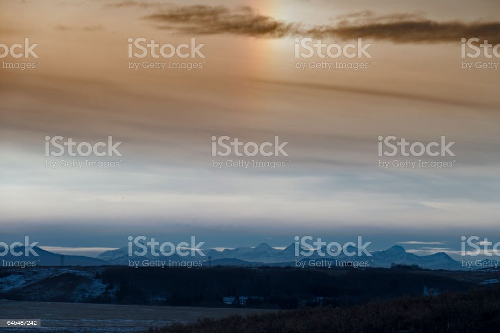 Beautiful view over the Canadian Rocky Mountains from the  Glenbow Ranch Provincial Park,a provincial park located in the Bow Valley , between the city of Calgary and the town of Cochrane in Alberta,Canada stock photo