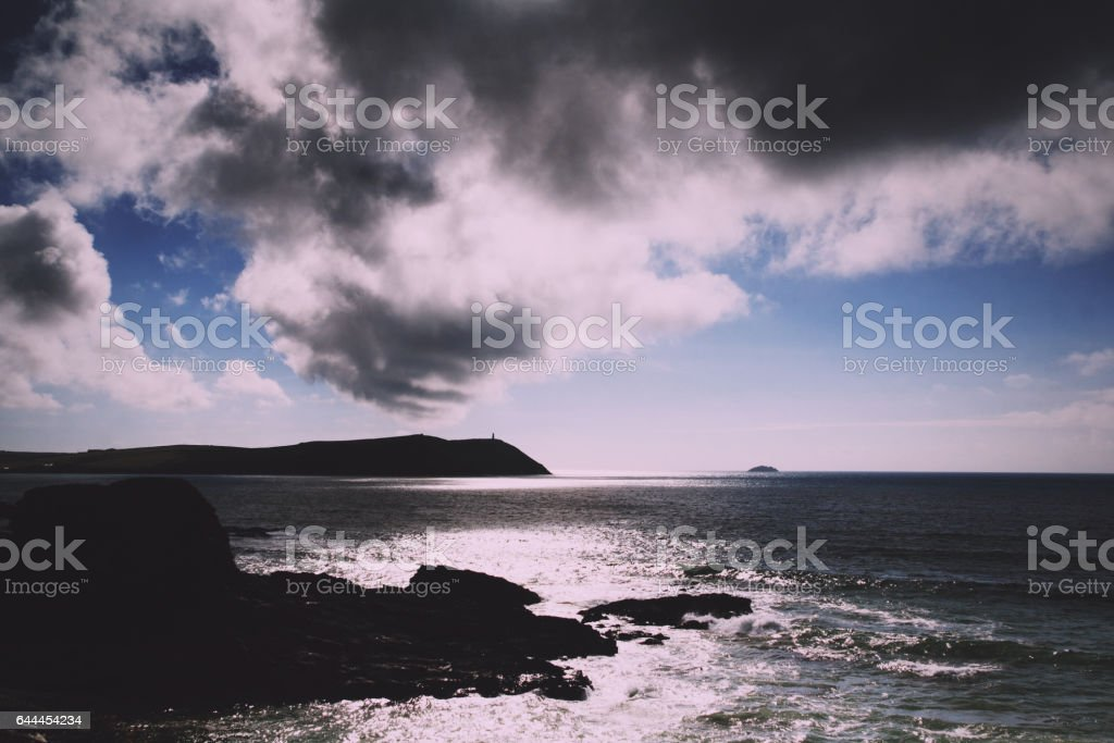 Beautiful view over the sea from Polzeath Vintage Retro Filter. stock photo
