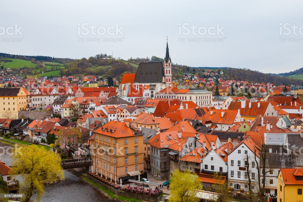 Beautiful view to old town of Cesky Krumlov, Czech republic stock photo