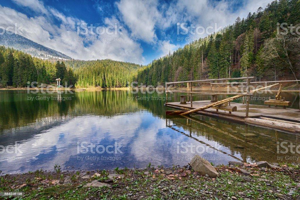 Beautiful view with mountain lake Synevyr. Carpathians, Ukraine stock photo