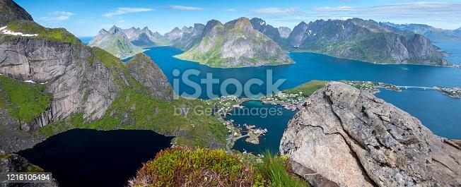 Beautiful views from Reinebringen view point in Lofoten Island, Norway