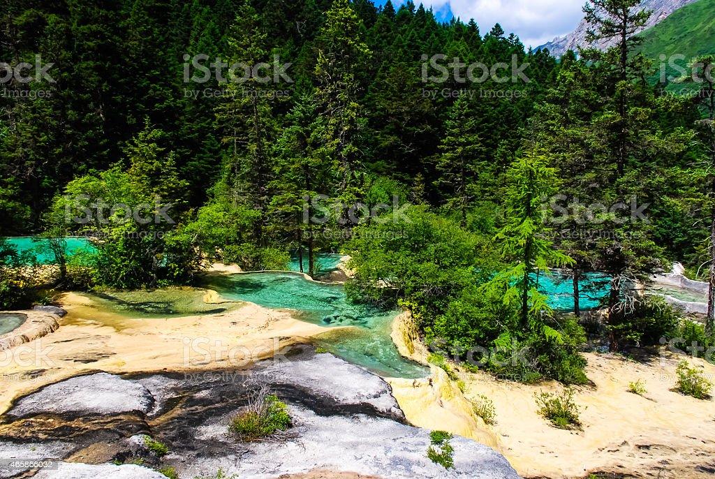 beautiful views in Jiuzhaigou Valley,Sichuan Province,China stock photo