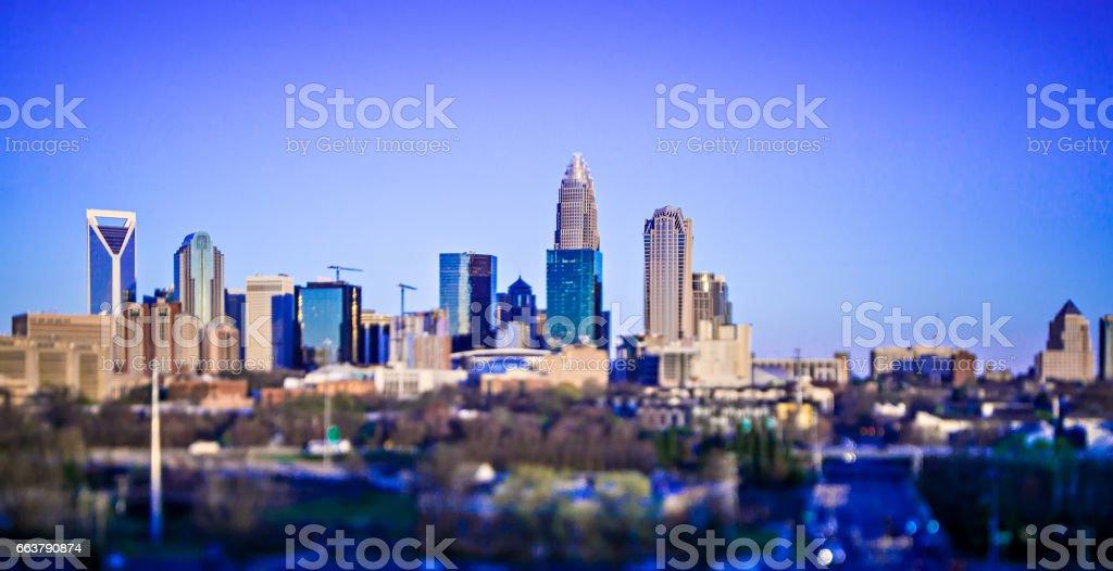 beautiful views of charlotte north crolina city skyline stock photo