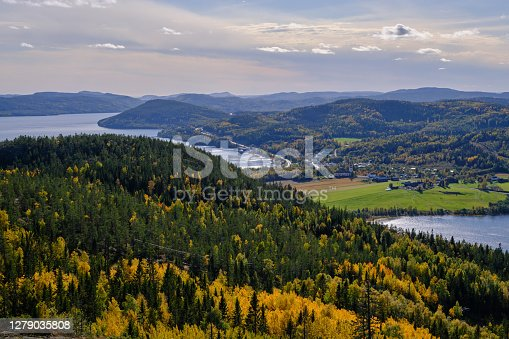 Beautiful views of forest mountains and sea on a sunny autumn day