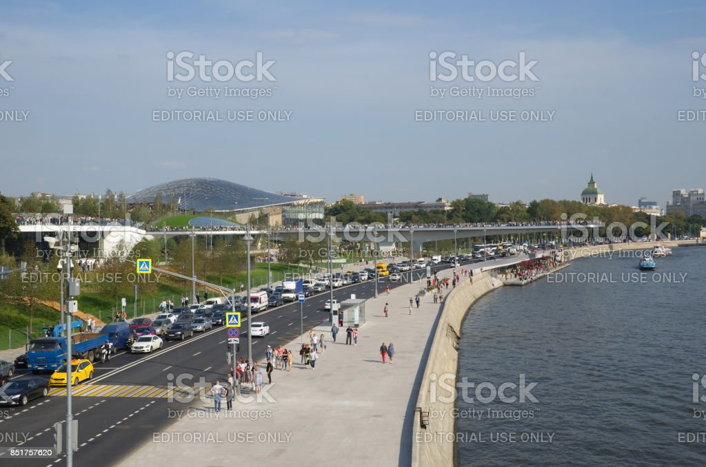 Beautiful views of the Moscow-river and Moscvoretskaya embankment, Russia stock photo