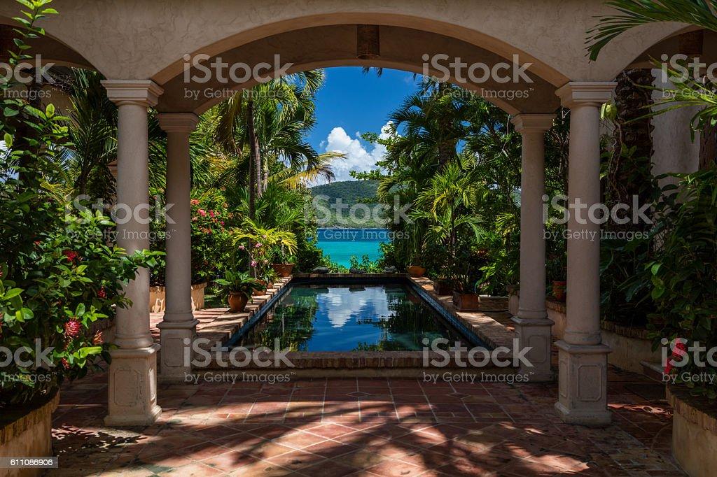beautiful villa on the beach in St John, Virgin Islands stock photo