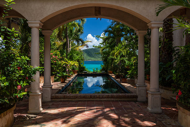 beautiful villa on the beach in st john, virgin islands - blumensäule stock-fotos und bilder