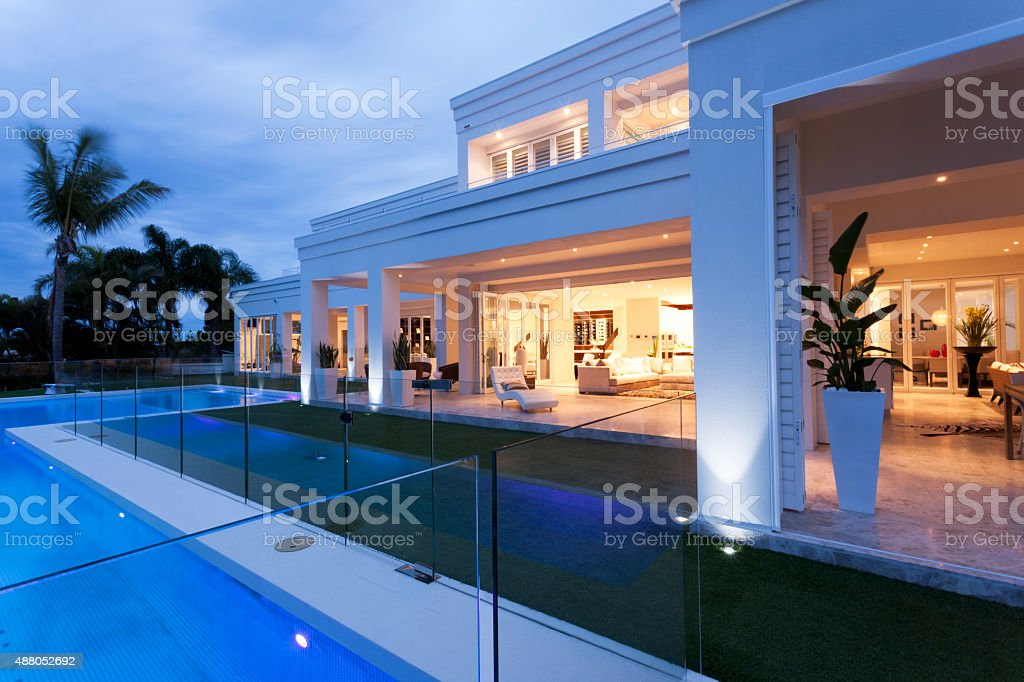 Beautiful villa with a pool stock photo