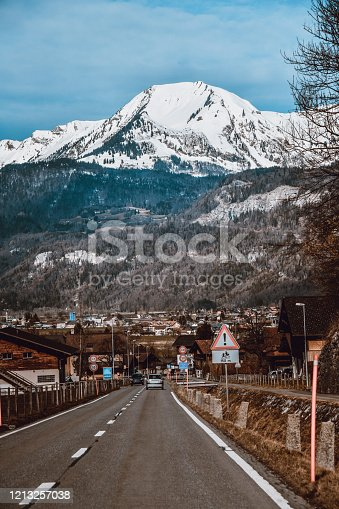 Beautiful Village And Road Near The Alps In Switzerland