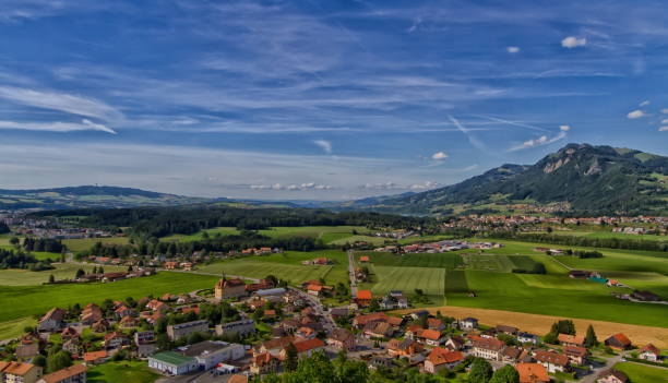 beautiful village of Gruyere in Switzerland stock photo