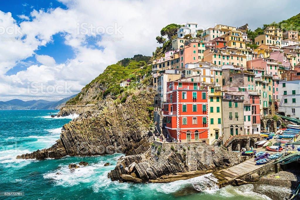 Beautiful village of Riomaggiore in Cinque Terre, Liguria, Italy stock photo