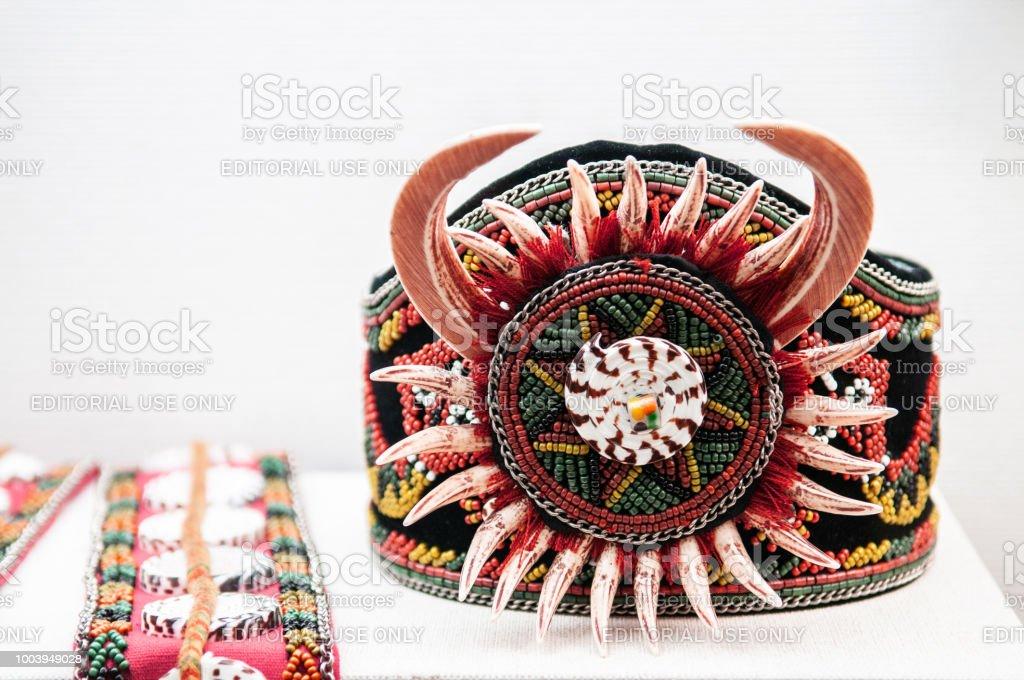 Beautiful vintage Ainu tribal handcraft braceletShiraoi Ainu Museum stock photo