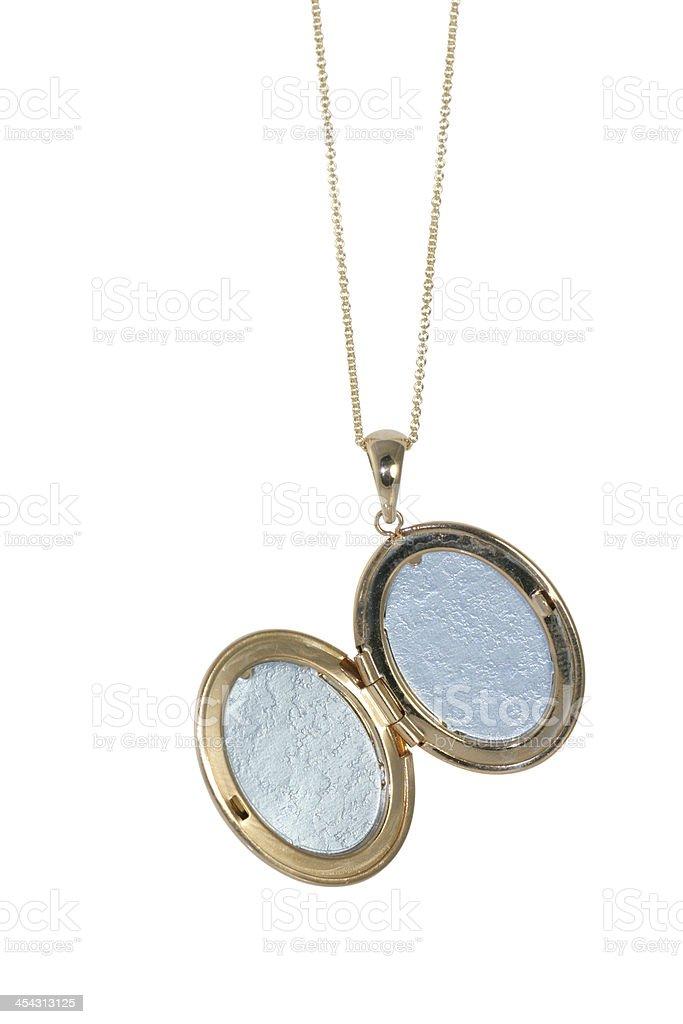Beautiful vintage locket necklace open on white background royalty-free stock photo