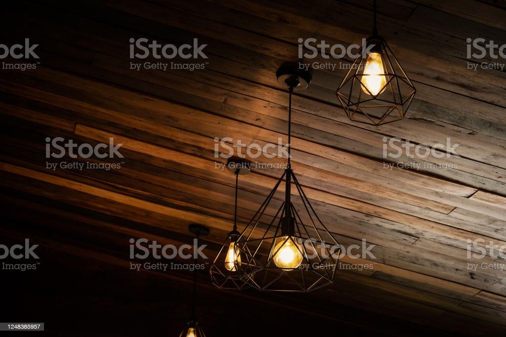 Beautiful Vintage Luxury Light Bulb Hanging Decor Glowing In Dark Stock Photo Download Image Now Istock