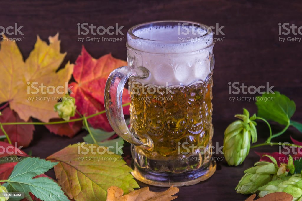 beautiful vintage mug with beer with head stock photo