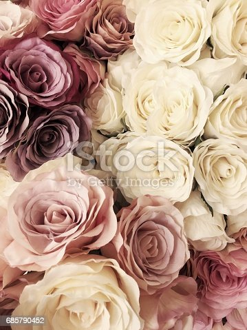 istock Beautiful vintage Rose background. white, pink, purple, violet, cream color bouquet flower. Elegant style floral. 685790452