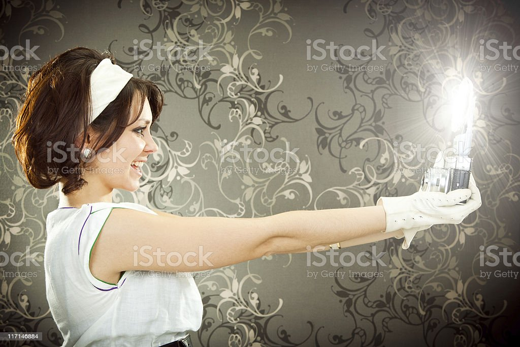 beautiful vintage  style girl shoot photograph with camera and f royalty-free stock photo