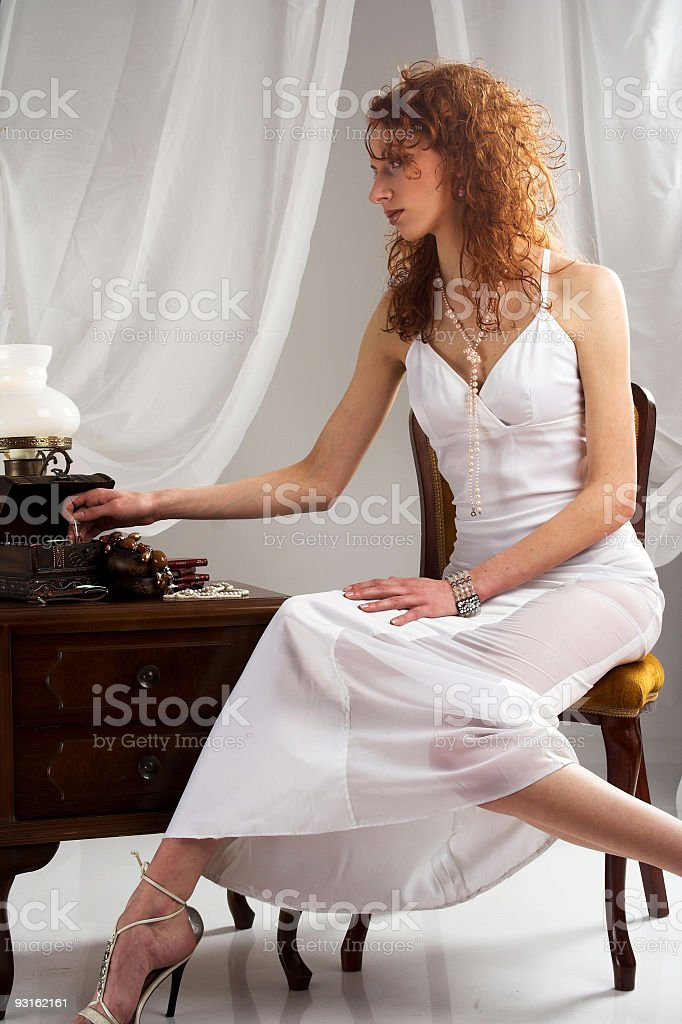 Beautiful vintage woman royalty-free stock photo