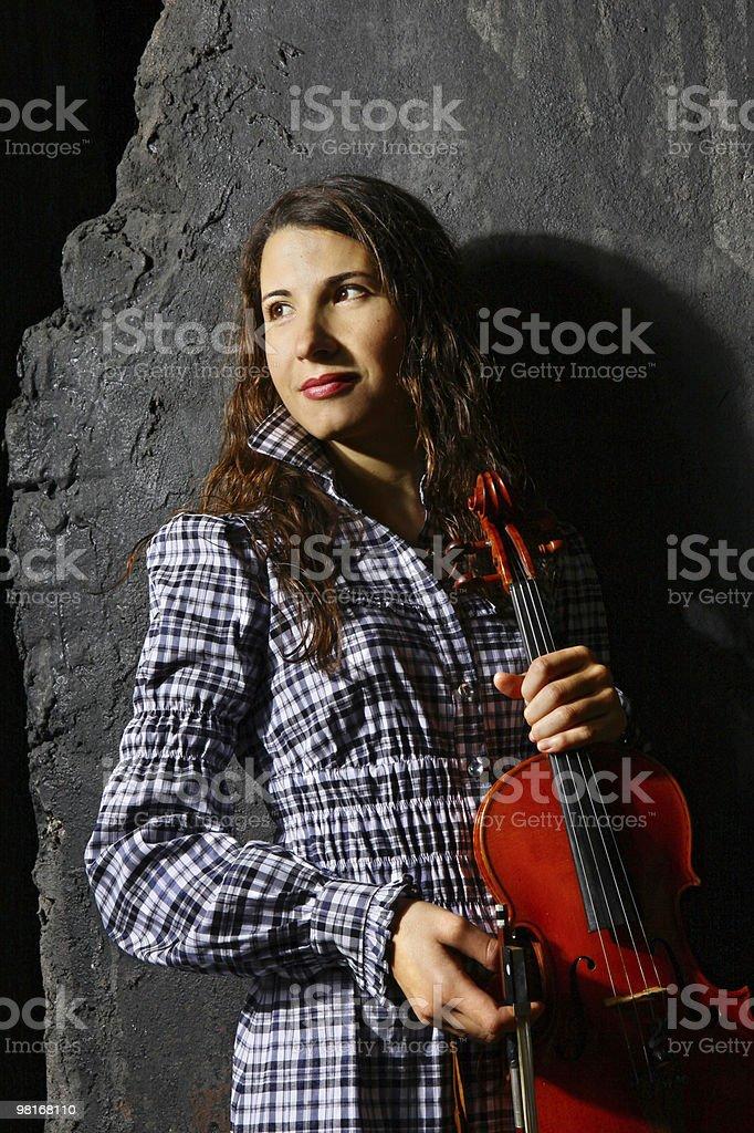 Beautiful violin musician royalty-free stock photo