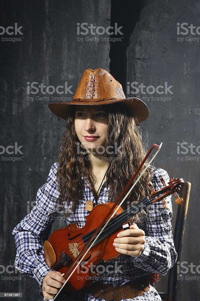 Beautiful violinist musician royalty-free stock photo