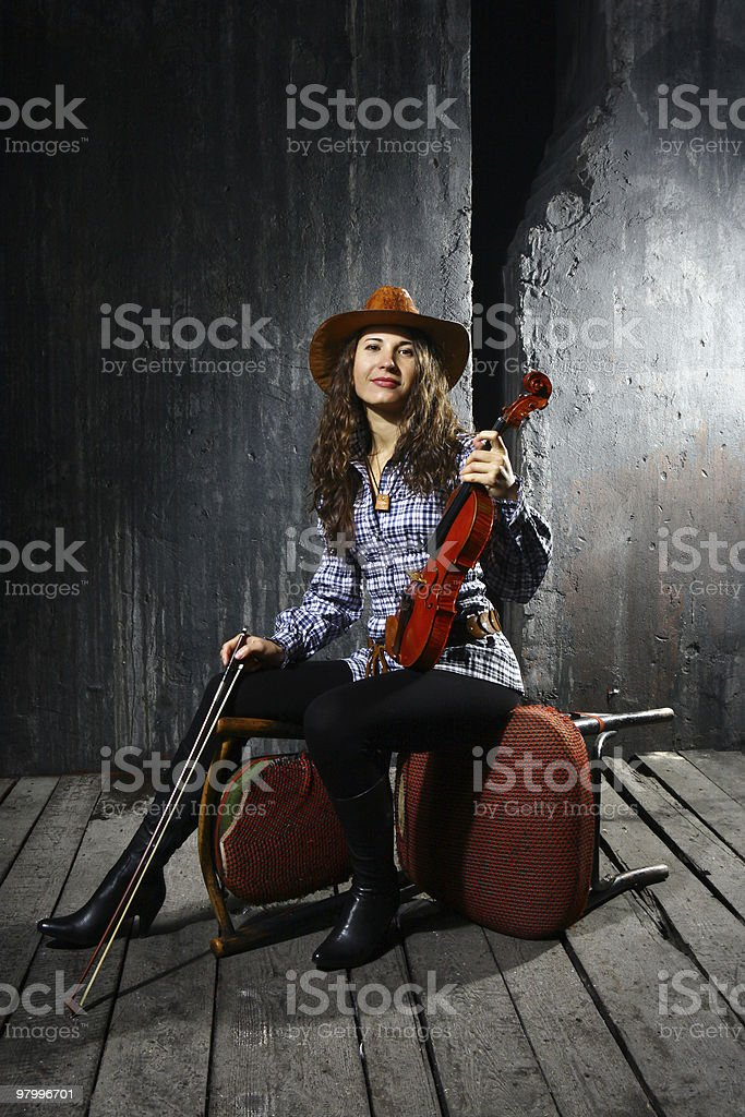 Beautiful violinist musician royalty-free stock photo