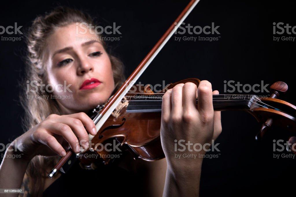Beautiful Violinist Woman stock photo