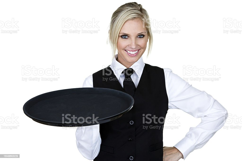 Beautiful waitress or barmaid stock photo