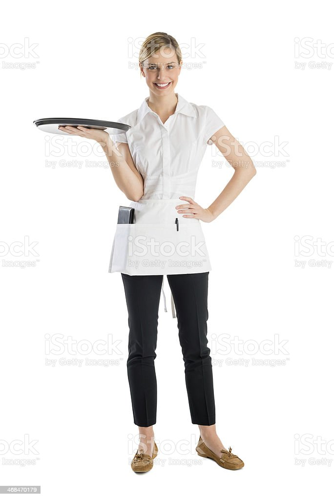 Beautiful Waitress With Serving Tray stock photo