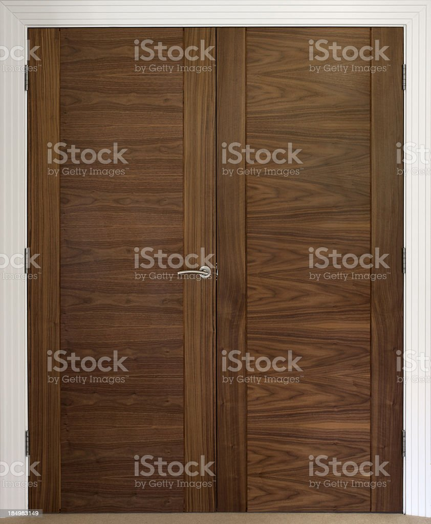 beautiful walnut doors stock photo